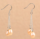 Simple Long Style Natural Pink Freshwater Pearl Dangle Earrings