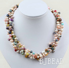 4 Strands multi color freshwater pearl twisted necklace with moonlight clasp