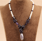 Fshion Natural White Pearl Amethyst Chips Pendant Necklace