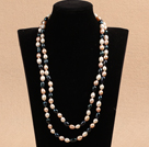Chic Long Style 7-8mm Natural Multi Color Freshwater Pearl Necklace Best Gift